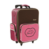 shrunks bandit mini travel luggage pink & brown