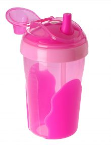 Vital Baby No Spill straw cup pink open