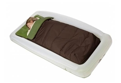 shrunks outdoor twin green & brown sleeping bag & pump